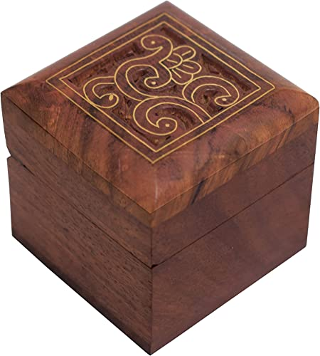 2x2 inch Bois dense Artisanat indien Bo/îte /à bijoux en bois//organisateur de bijoux bo/îte /à bijoux faite /à la main Design 21 Avec design traditionnel et incrustations en laiton Hashcart