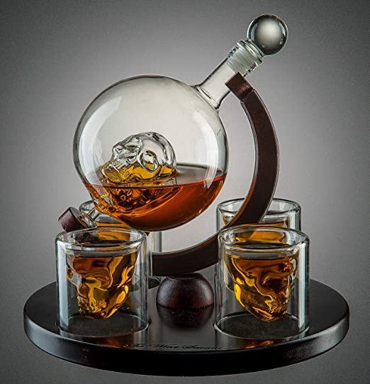 25 Ounce Decanter 3 Ounces Shot Glass The Wine Savant Large Skull Face Decanter with 4 Skull Shot Glasses and Beautiful Wooden Base By Use Skull Head Cup For A Whiskey Scotch and Vodka Shot Glass