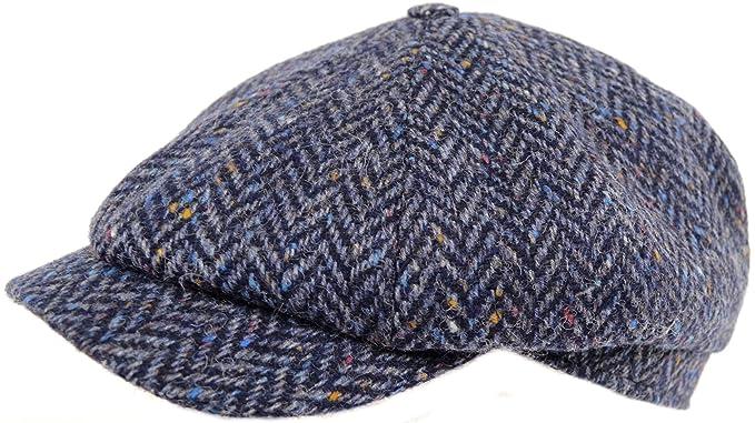 Mens 100% Wool Tweed 8 Piece Baker Boy Shooting Flat Cap Hat  Amazon ... 7bd41189dc0