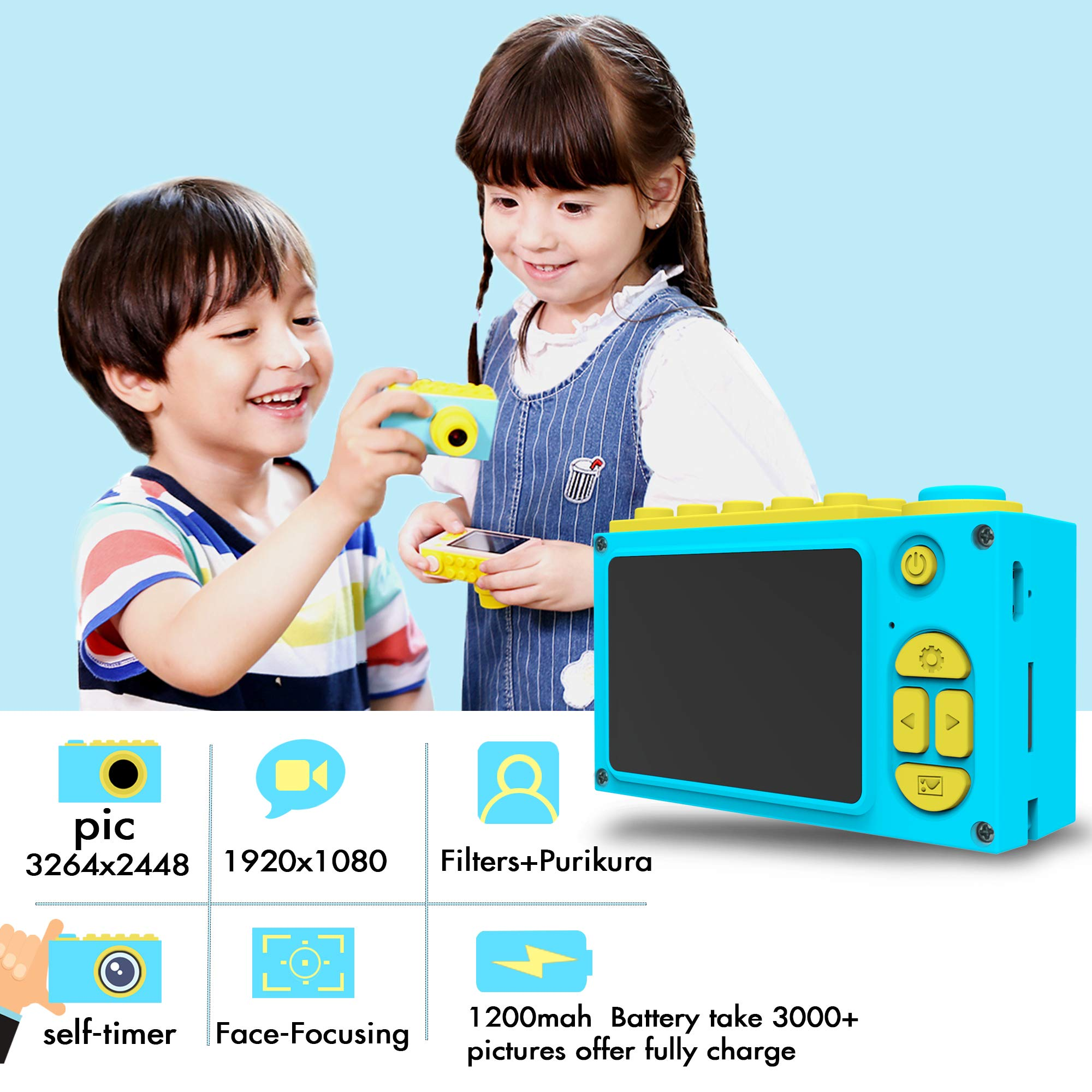 BlueFire Kids Digital Camera, Mini 2 Inch Screen Children's Camera, 8MP HD Child Camcorder, Best Digital Camera for Boys and Girls (Blue) by BlueFire (Image #2)