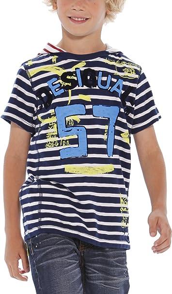 Desigual - Camiseta con Capucha de Manga Corta para niño, Talla 7-8 años (122/128 cm), Color Azul (Marino 5001): Amazon.es: Ropa y accesorios