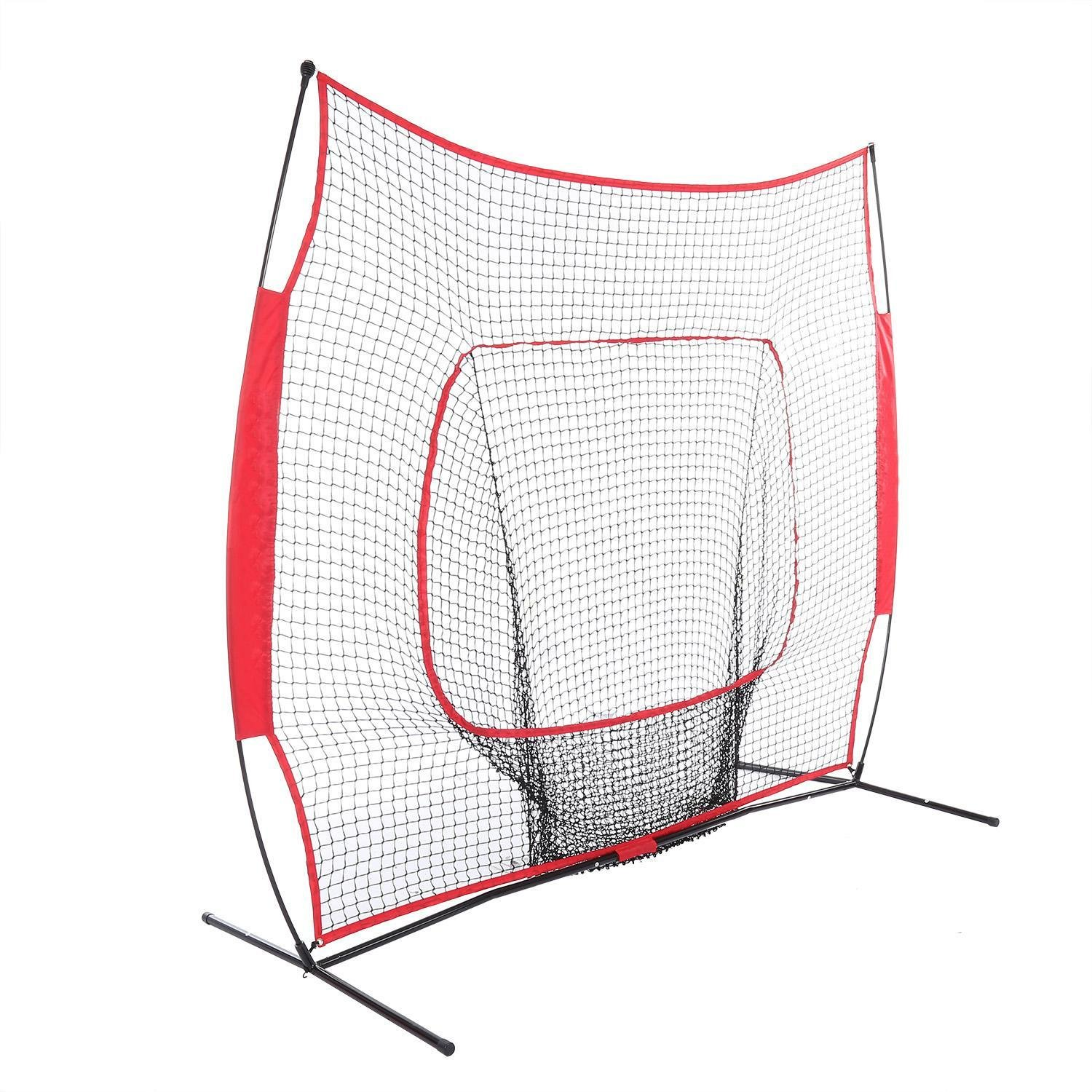 Rapesee 7 x 7ft Baseball Softball Practice Nets, Powerful Baseball Trainer Hitting Pitching Batting Net with Bow Frame