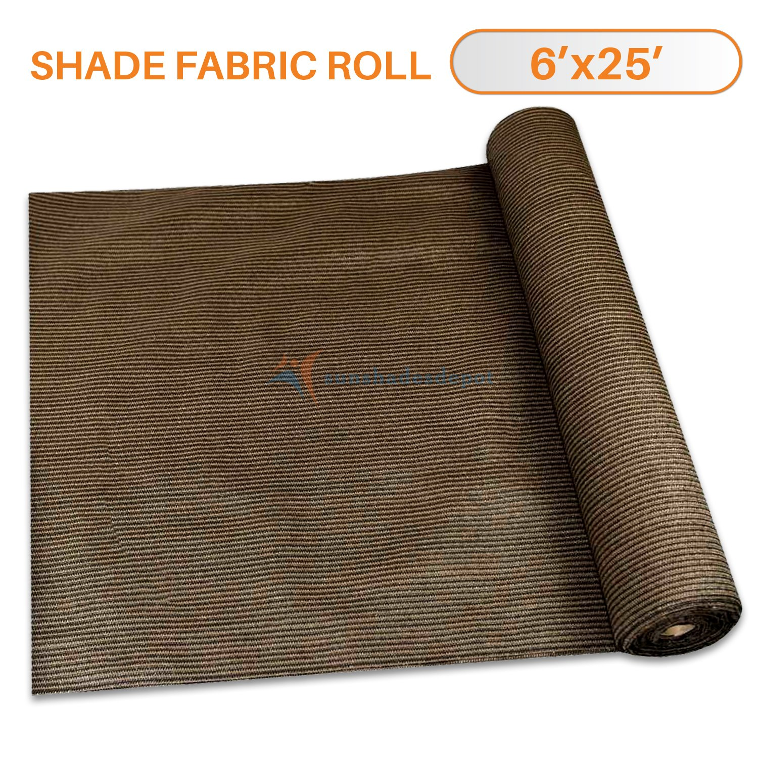Sunshades Depot 6' x 25' Shade Cloth 180 GSM HDPE Brown Fabric Roll Up to 95% Blockage UV Resistant Mesh Net