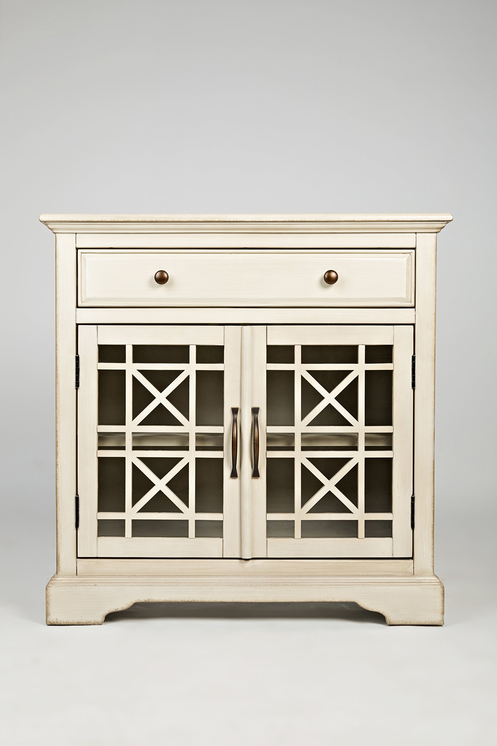 "Jofran: , Craftsman, Accent Chest, 32""W X 15""D X 32""H, Antique Cream Finish, (Set of 1) - One Drawer Two Doors Drawer Dimensions: 26""W X 12""D X 8.75""H - dressers-bedroom-furniture, bedroom-furniture, bedroom - 81Cb9rJswAL -"