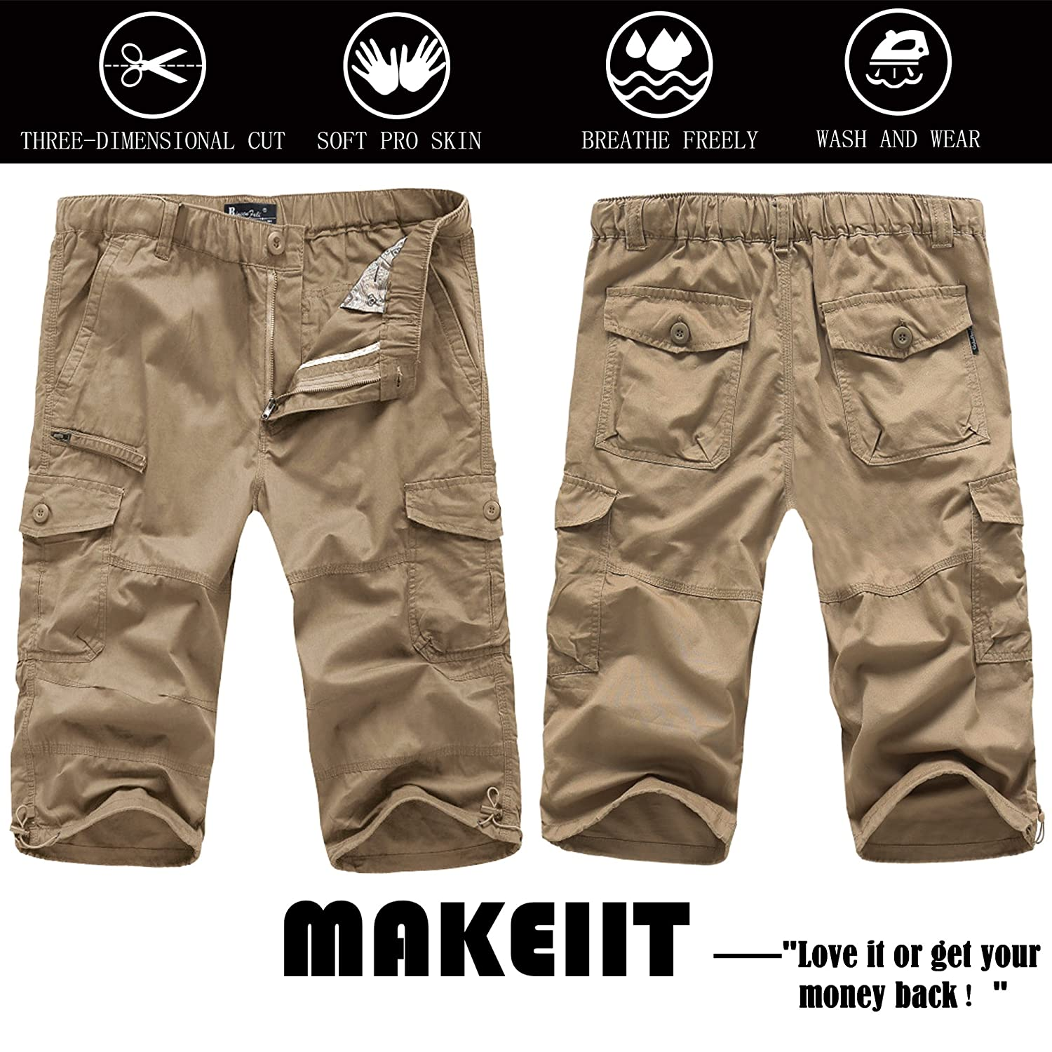 MAKEIIT Mens Classic-Fit 7-Pockets Cargo Short Cotton Pants with Adjustable Drawstring Workout Shorts