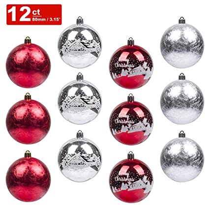 ki store christmas balls ornament 12ct shatterproof 315 inch tree ball red and silver hand