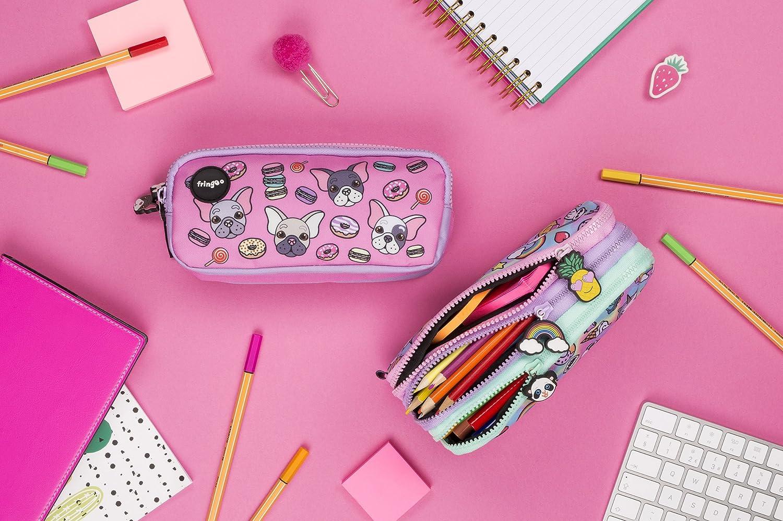 Estuche para lápices de 3 compartimentos FRINGOO, para niños, divertido y bonito, color Pugs & Sweets - 3 Compartments Large