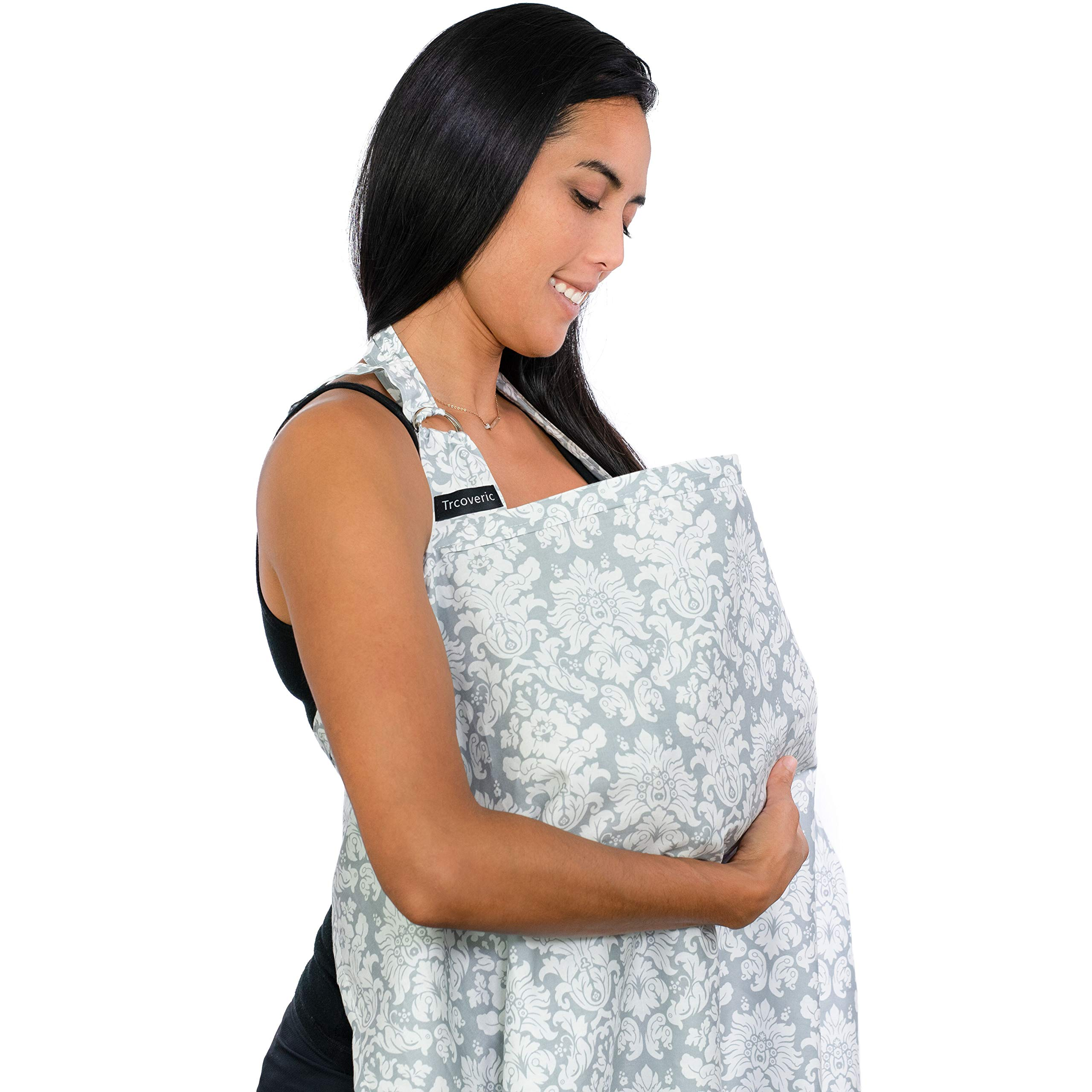 Breastfeeding Nursing Cover, Trcoveric Lightweight Breathable Cotton Privacy Feeding Cover, Nursing Apron for Breastfeeding - Full Coverage, Adjustable Strap, Stylish and Elegant by Trcoveric