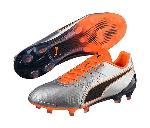 professionnel de premier plan obtenir pas cher fournir un grand choix de Puma One 1 Leather Low FG - Crampons de Foot - Argent/Orange ...