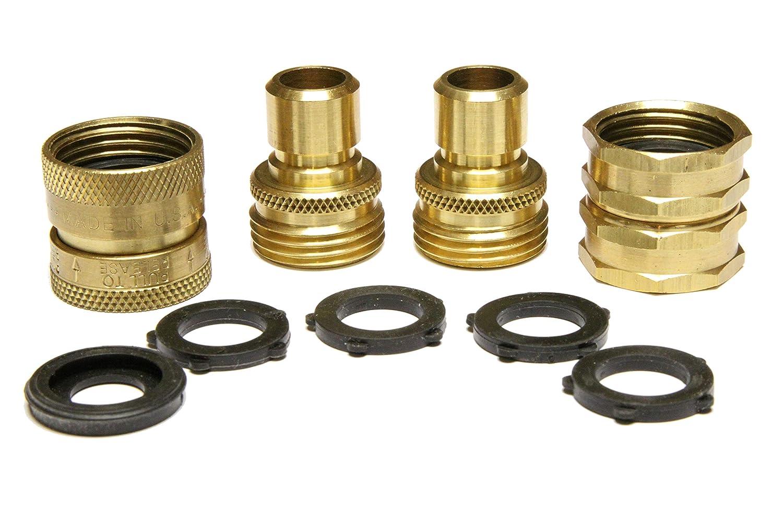 Nysist Garden Hose Quick Connect Set ~ Made in USA ~ Solid Brass Quick Connect Garden Hose Fittings ~ Bonus Swivel Coupler & Extra Washers