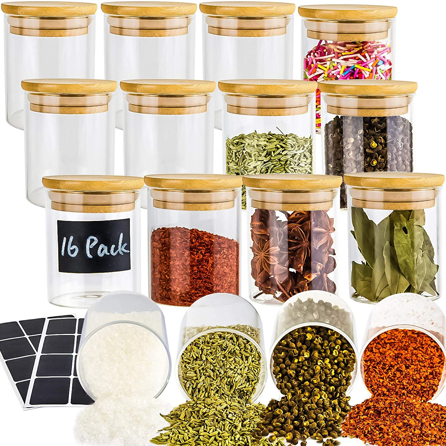 16 Piece Glass Jars with Lids, Airtight Bamboo Lids Food Storage Containers Set For Kitchen, Spice, Coffee, Beans, Candy, Nuts, Herbs, Dry Food Canisters (Extra Chalkboard Labels) - 8oz Clear