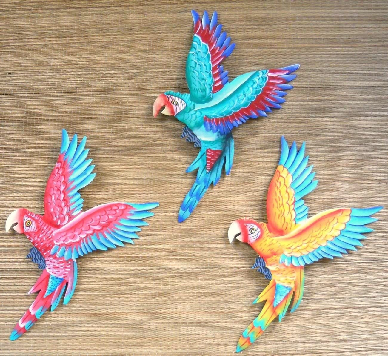 Set of 3 metal art wall hanging Parrots