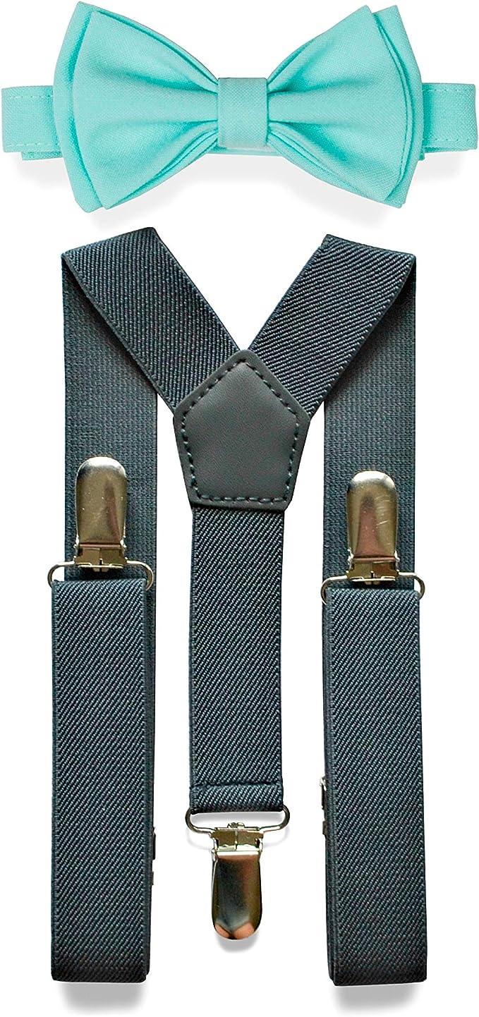 Charcoal Grey Suspenders /& Bow Tie Set for Baby Toddler Boy Teen Men