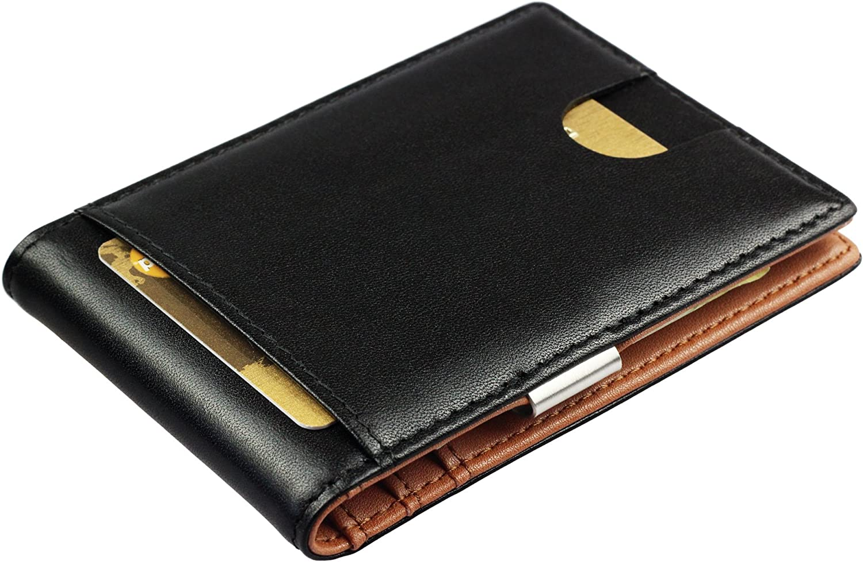 Cartera de Hombre con Pinza para Billetes - Billetera pequeña de Piel auténtica, Tarjetero con protección RFID, Regalos para Hombres, Negro/marrón