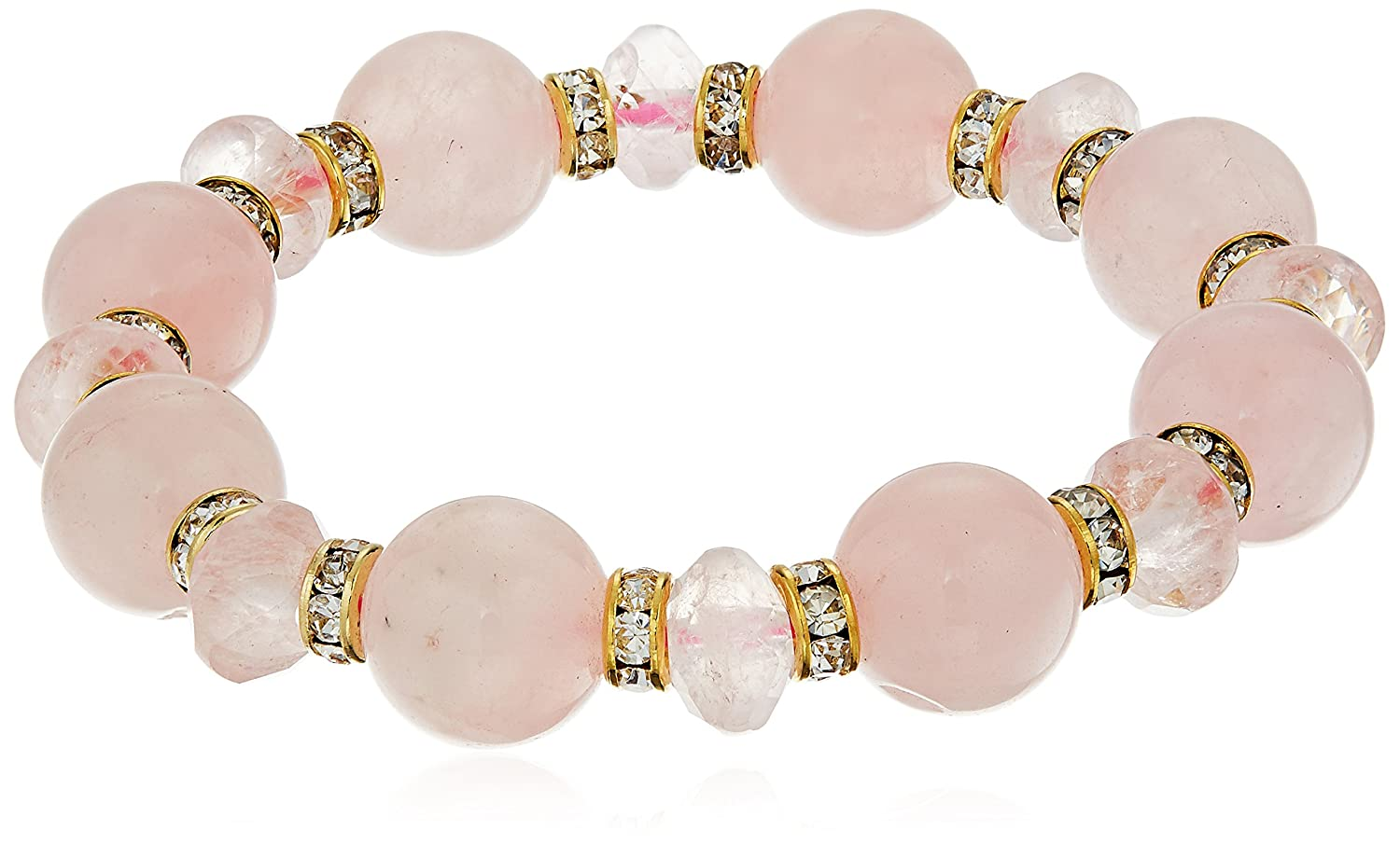 Gold Tone Cubic Zirconia Rondelles with Rose Quartz Round Beads and Faceted Rondelles Stretch Bracelet, 7.5 7.5 Lita Trading Corp LT7514-B