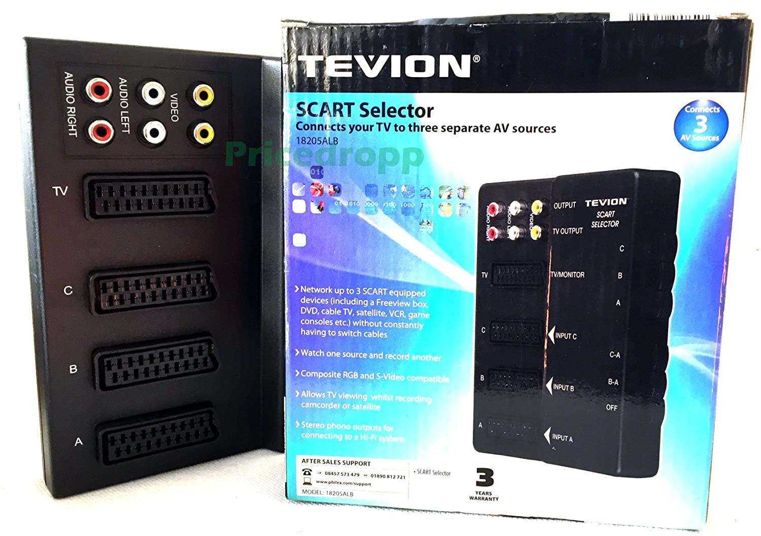 Scart Selector Switch Box - 3 SCART Input, 1 SCART: Amazon.co.uk ...