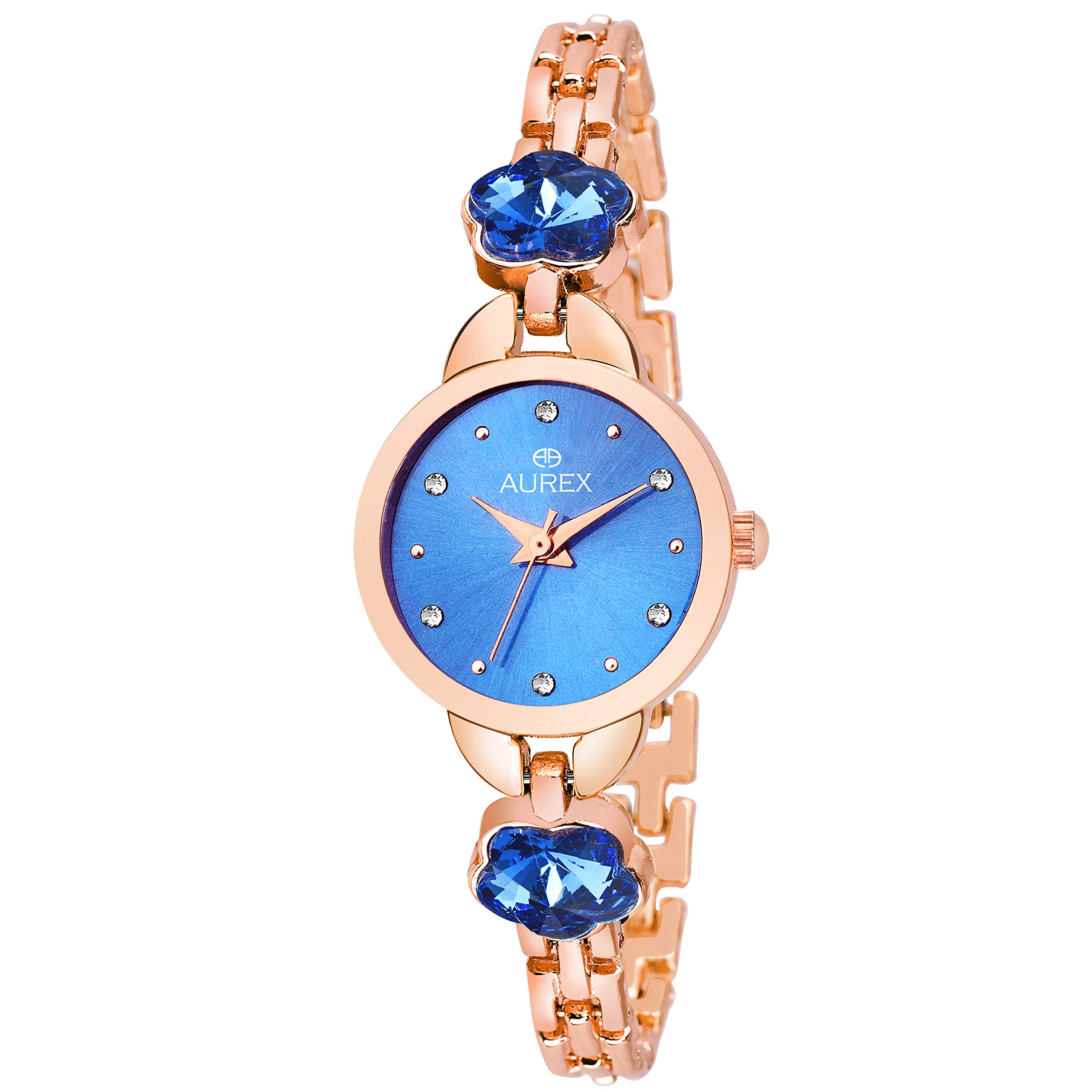 Aurex Analouge Blue Dial Watch Water Resistant Rose Gold Color Strap Wrist Watch for Women/Ladies/Girls (AX-LR537-BLCP) (B07H6D67HX) Amazon Price History, Amazon Price Tracker