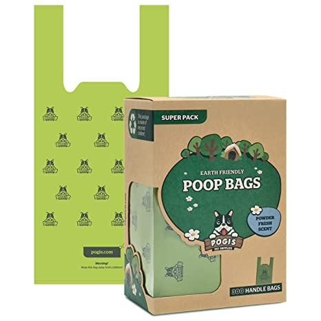 2b81ac562c8e Amazon.com : Pogi's Poop Bags - 300 Bags with Easy-Tie Handles - Large,  Earth-Friendly, Scented, Leak-Proof Pet Waste Bags : Pet Supplies