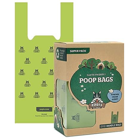 Pogis Poop Bags - 300 Bolsas para excremento de Perro con manijas de Amarre fácil - Biodegradables, Perfumadas, Herméticas