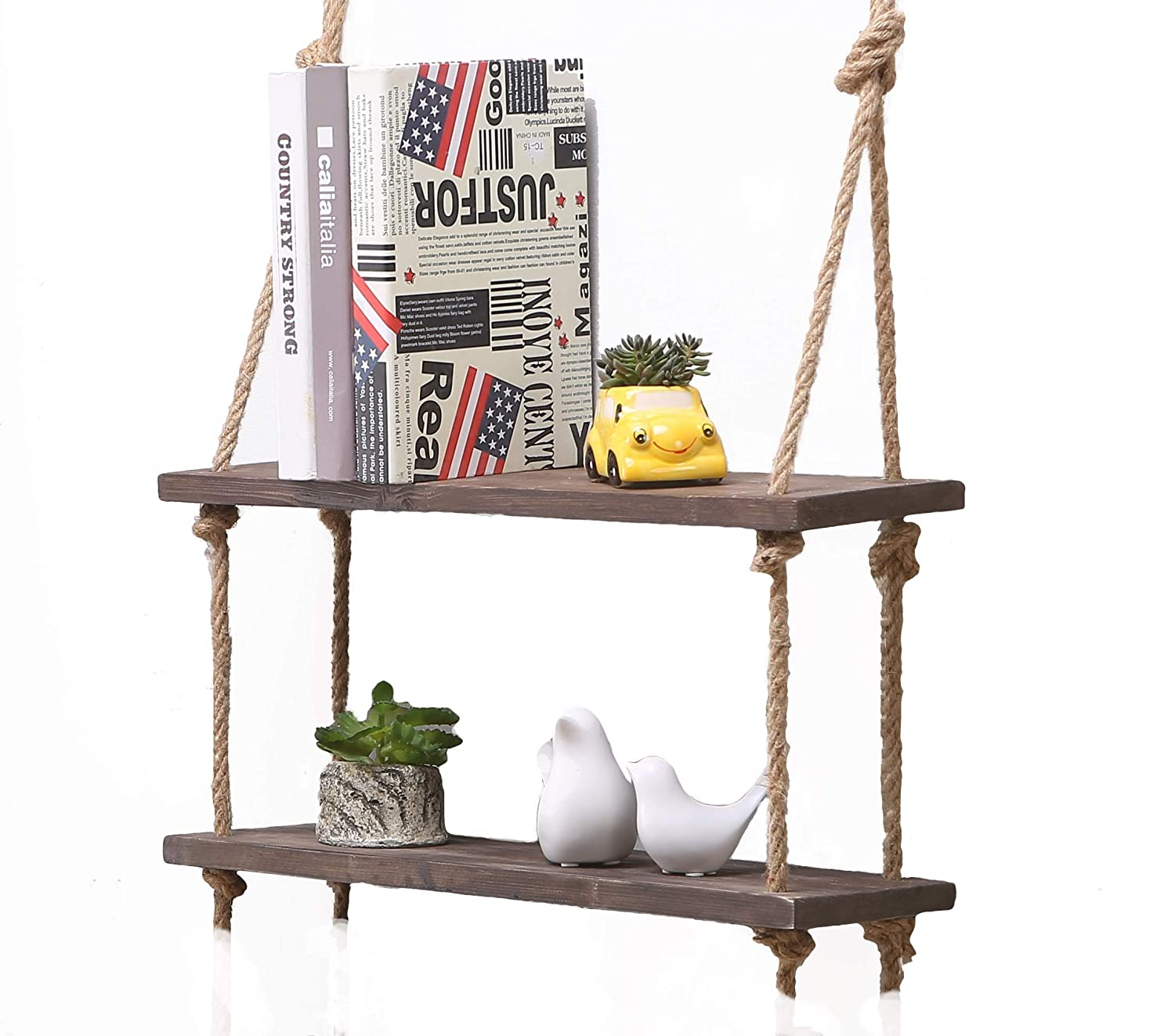 Easy Chic Solid Wood Wall Shelf Storage Floating Wall Shelf Rustic Vintage Wooden Rope Shelf (Natural, 2 Shelves) YYMG Homeware