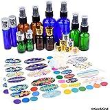 Multi-Size Essential Oil Bottle Kit: 12x Essential Oil Bottles (6 Different Models), 6x Fine Mist Sprayer, 10x Orifice Reducer Cap, 2x Rolling Cap, 1x Bottle Tool, 78x Label, 2x Mini Dropper + Funnel