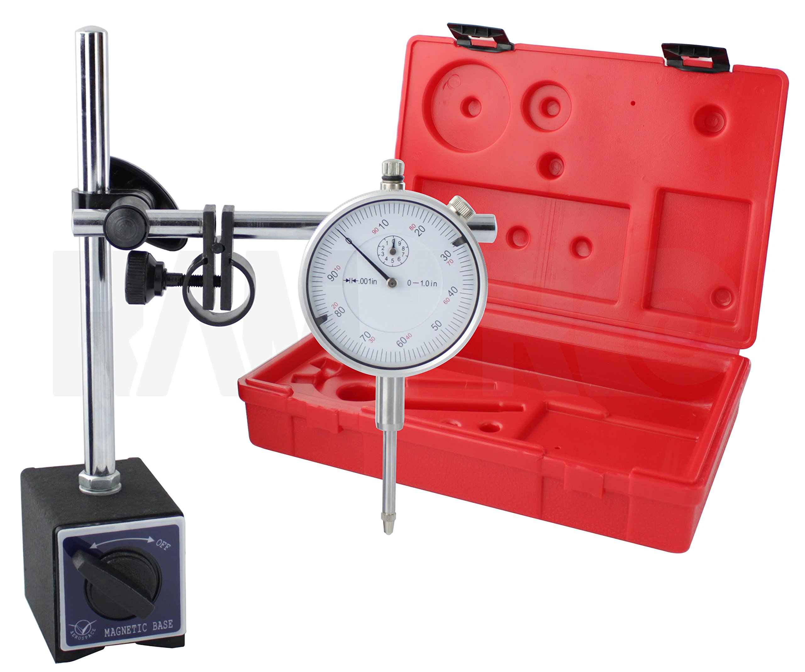 RamPro Portable Multi-Position Dial Indicator Point Precision Inspection Set with Adjustable Magnetic Base - Stand Combo Kit   On/Off Magnet Switch