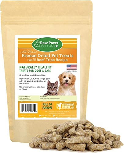 Raw Paws Pet Free-Range Freeze Dried Beef Green Tripe Dog Treats Cat Treats – Made in USA – Raw Beef Tripe for Dogs Freeze Dried to Preserve Raw Nutrition – Grass-Fed Cows – Grain Wheat Free