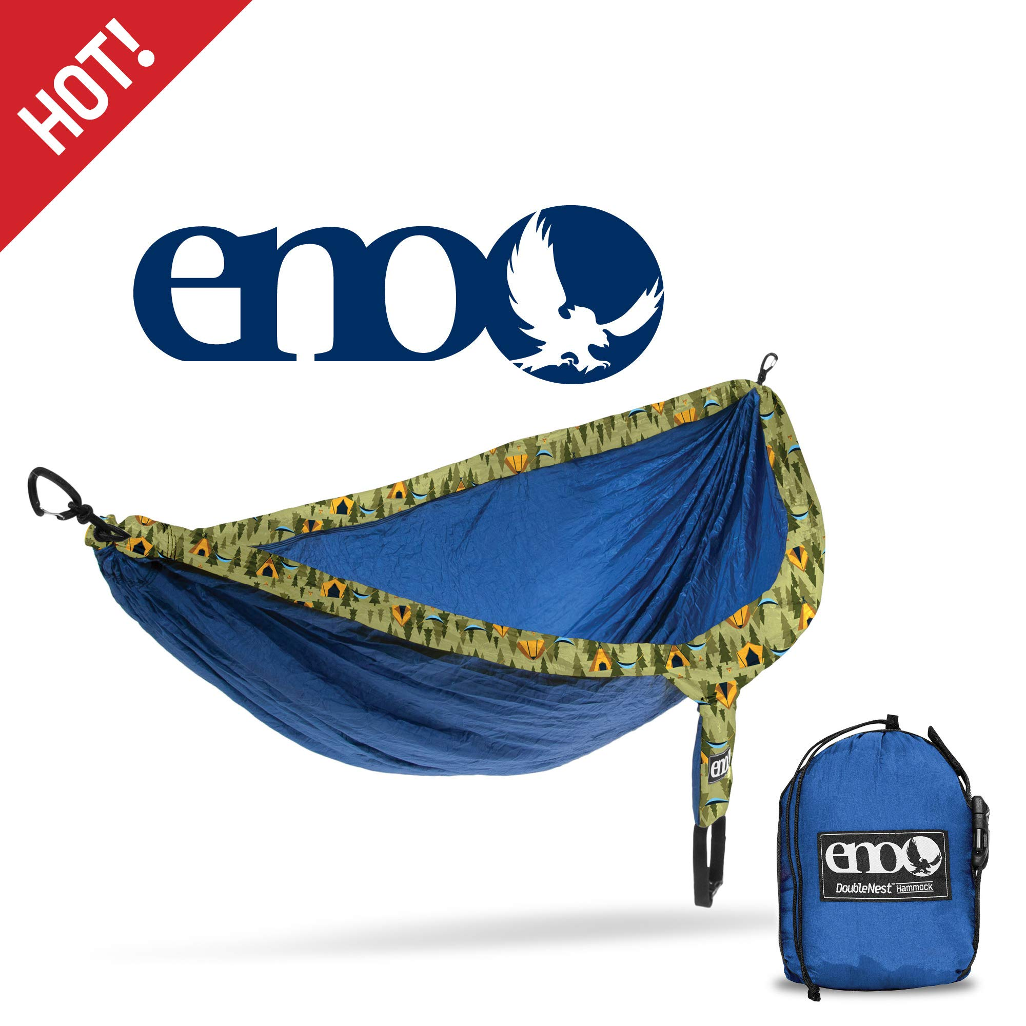 ENO - Eagles Nest Outfitters DoubleNest Print Lightweight Camping Hammock, 1 to 2 Person, Camp Side by ENO