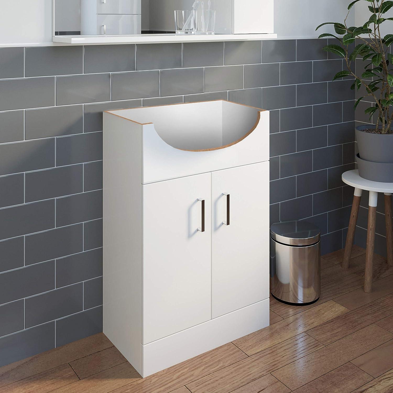 Plumbworld High Gloss White Vanity Unit 550mm Bathroom WC Cloakroom