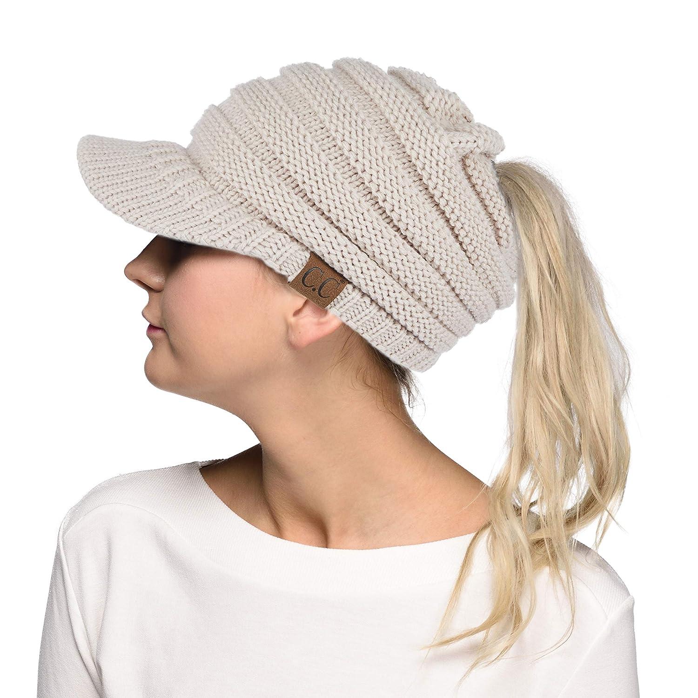 C.C Exclusive Messy Bun Ponytail Visor Brim Beanie Hat (MB-131) C.C®