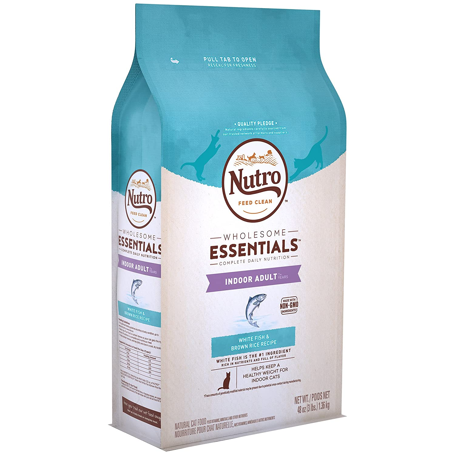 Nutro Wholesome Essentials Indoor Adult Dry Cat Food White Fish & Brown Rice Recipe, 3 Lb. Bag