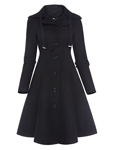 Kinikiss Mujer Abrigo Largos Elegante Otoño Invierno Jacket Parka Outwear Negro