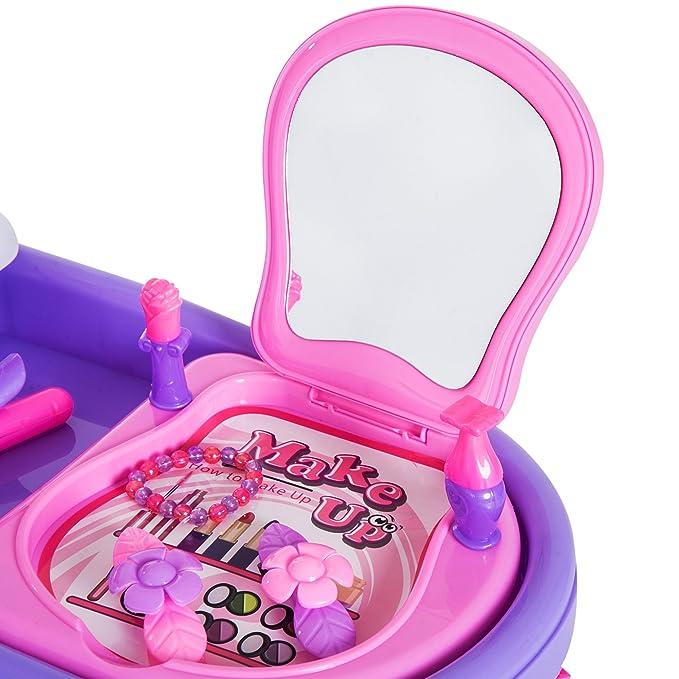 HOMCOM Carrito Juguete de Peluquería Belleza 38 Piezas Juego de Tocador Set Cosmética Maquillaje con Espejo Secador de Pelo etc 47x30x55cm PP: Amazon.es: ...
