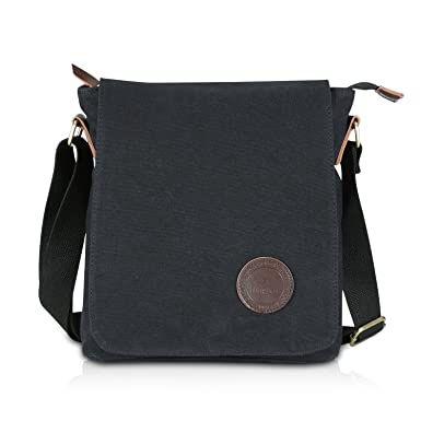 Amazon.com: Ibagbar Small Vintage Cotton Canvas Messenger Bag Ipad ...