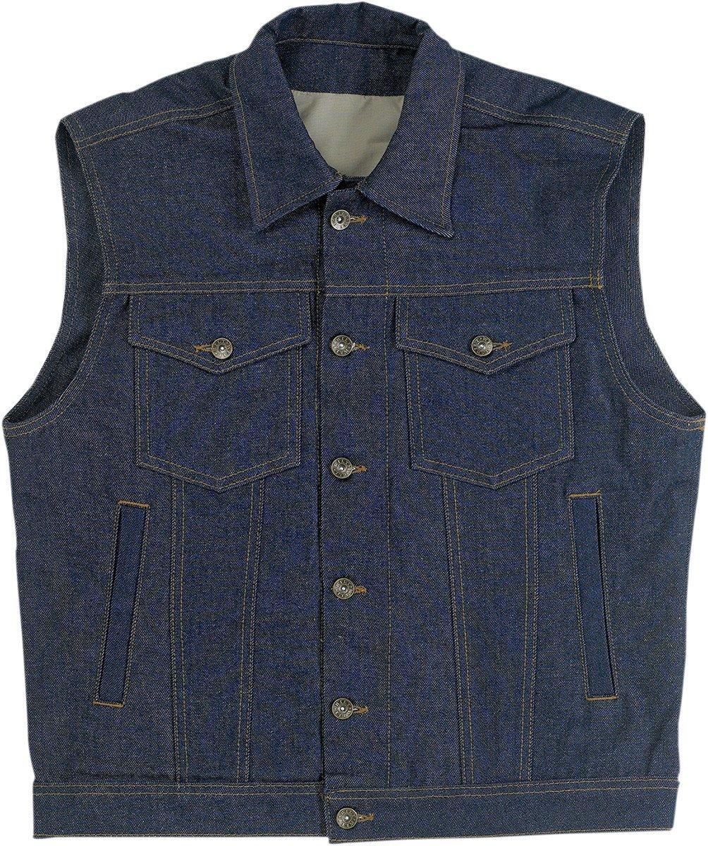 Biltwell Inc. Men's Denim Collared Indigo Vest, 2XL