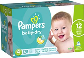 Pampers Pañales Desechables Baby Dry, Talla 4, 128 Piezas