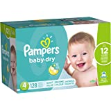Pampers Baby-Dry Disposable Diapers Size 4, 128 Count, GIANT, Packaging may vary