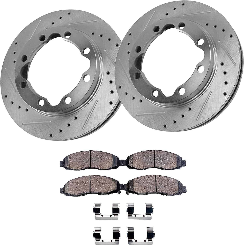Front Coated Disc Rotors /& Ceramic Brake Pads Fits Dodge Durango Ram 1500