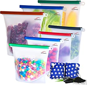 Qoapex Reusable Silicone Food Storage Bags silicone bags reusable silicone food Bag for Preservation of Lunch Snack Fruit, silicone food bags reusable storage bags freezer leakproof BPA Free 7 Pack+2