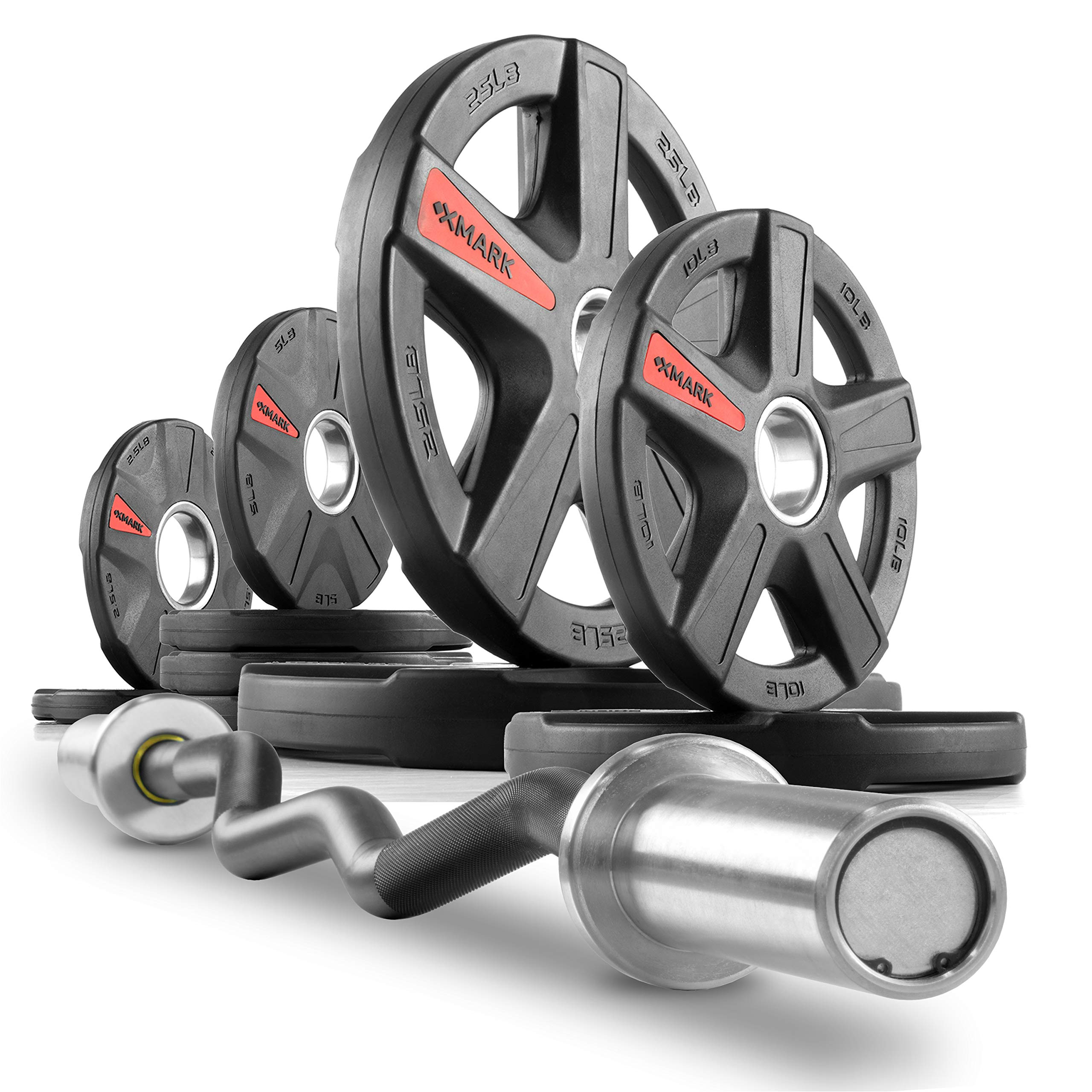 XMark Commercial Hard Chrome Olympic EZ Curl Bar Brass Bushings with Texas Star 95 lb. Olympic Plate Weight Set, Great for Bicep Curl and Triceps Extension, Can Be Used with Preacher Curl Bench