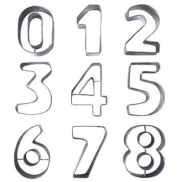 Kurtzy 9 Piezas Cortador de Galletas Número - Moldes Galletas Números Grandes 0-9 para Hornear Pastel Decorar Glaseado Cortador Fondant - Moldes para ...