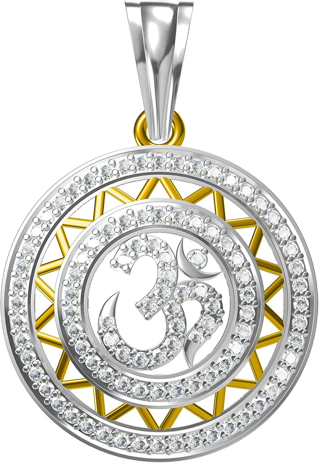 14K Yellow Gold Plated Simulated Diamond Studded Religious OM Pendant Necklace With Chain Jewelry