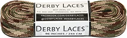 and Boots Derby Laces Blue Camouflage 108 Inch Waxed Skate Lace for Roller Derby Hockey and Ice Skates