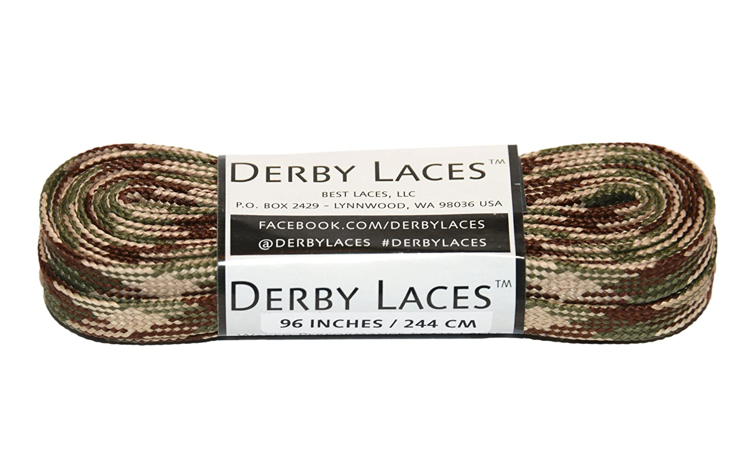 Hockey and Ice Skates Derby Laces Camouflage 96 Inch Waxed Skate Lace for Roller Derby and Boots