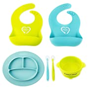 Baby Plates Bowls Silicone Bib Spoons Set - Divided Plate Suction Bowl & Soft Spoon Aids Self Feeding - Adjustable Bib Easily Wipes Clean - Spend Less Time Cleaning Up After Toddler by Evla's Kitchen