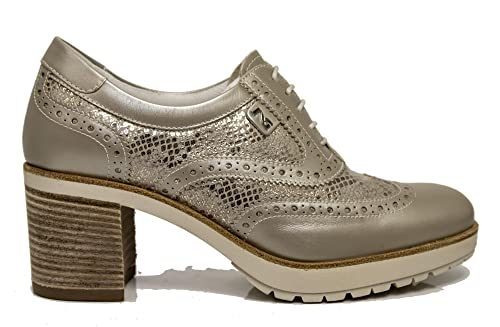Scarpe stringate Nero Giardini P805044D 505 5044 in pelle beige savana