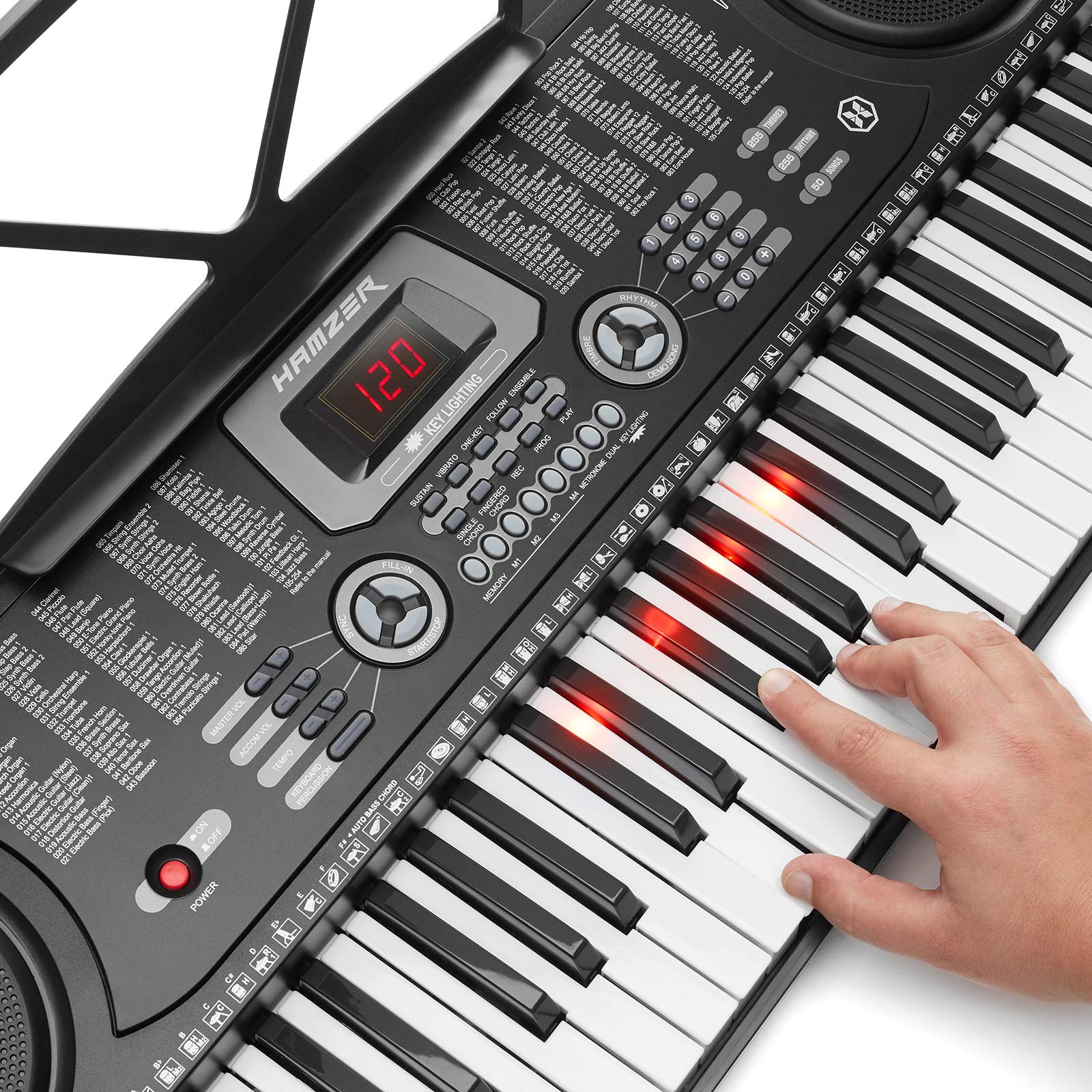 Hamzer 61-Key Electronic Keyboard Portable Digital Music Piano with Lighted Keys, H Stand, Stool, Headphones Microphone, Sticker Set by Hamzer (Image #4)