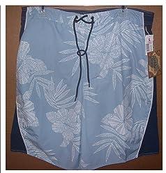 0617816838 Roundtree and Yorke Size Large Men's Swim Trunks Blue Print