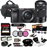 Sony Alpha a6300 Digital Camera w/ SELP1650 16-50mm & SEL55210B 55-210 Zoom Lenses & Rode Video Mic GO BundlE
