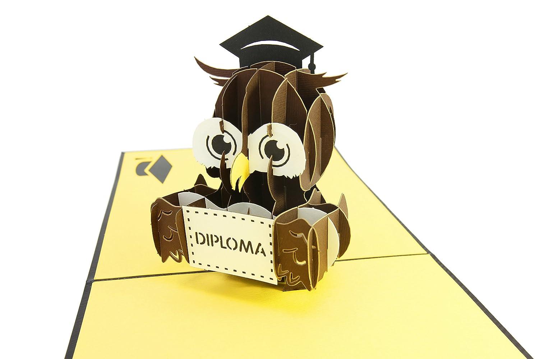 pliegues planas para correo anuncio de graduado tarjeta de inicio PopLife Cards Graduaci/ón b/úho 3d pop-up tarjeta de felicitaci/ón postgrado ceremonia de diploma invitar felicitaciones clase